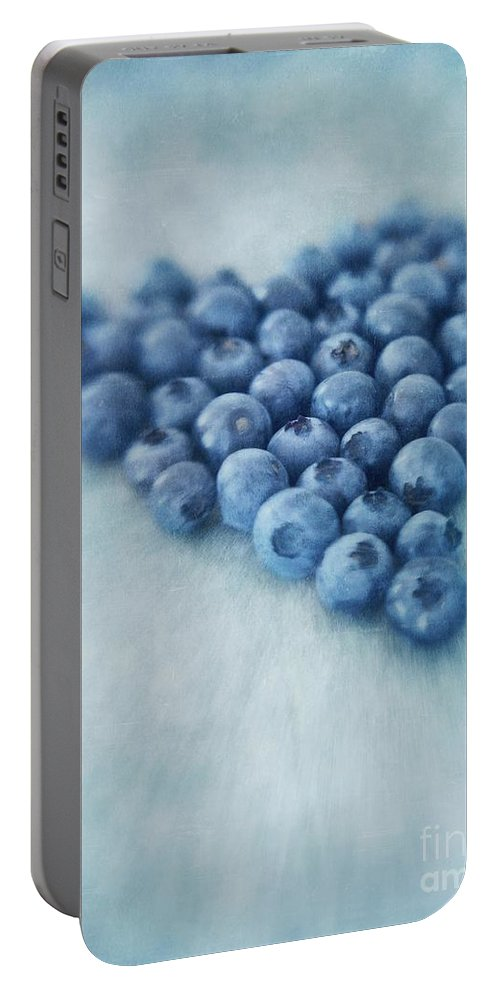 Blueberry Portable Battery Charger featuring the photograph I Love Blueberries by Priska Wettstein