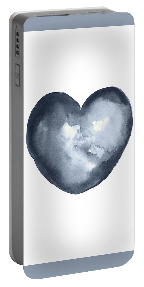 Painting Portable Battery Charger featuring the painting Blue Heart, I Love You Quote Men Women Gift Idea Heart Minimalist Picture Wall Decor Clipart by Joanna Szmerdt