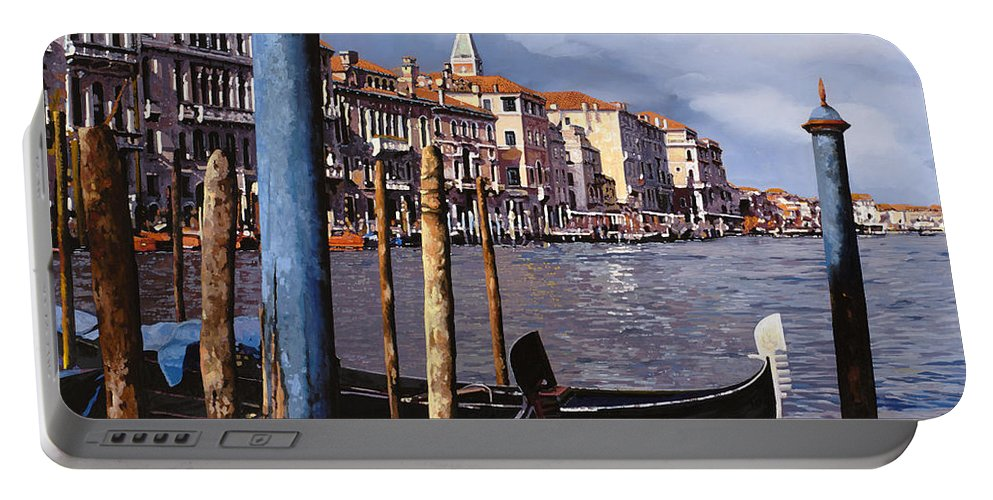 Venice Portable Battery Charger featuring the painting I Pali Blu by Guido Borelli