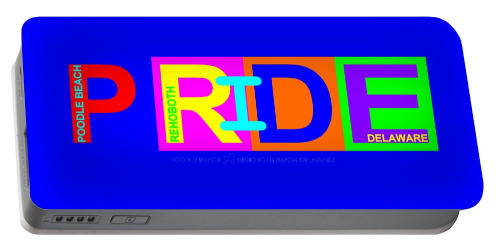 Portable Battery Charger featuring the digital art I Put The Pride In Color by Poodle Beach Apparel