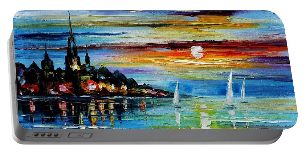 Art Gallery Portable Battery Charger featuring the painting I Saw A Dream - Palette Knife Oil Painting On Canvas By Leonid Afremov by Leonid Afremov