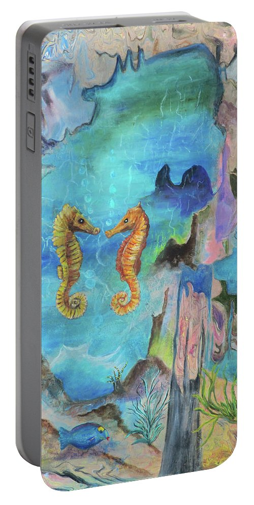 Sea Horse Portable Battery Charger featuring the painting I Sea You by Mikki Alhart