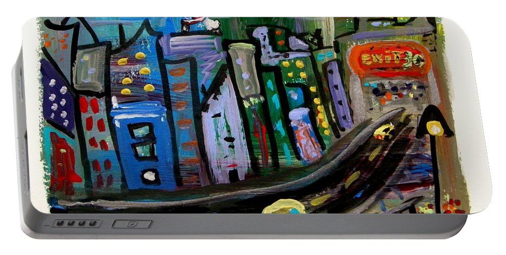 Highway Portable Battery Charger featuring the painting I See My Destination by Mary Carol Williams