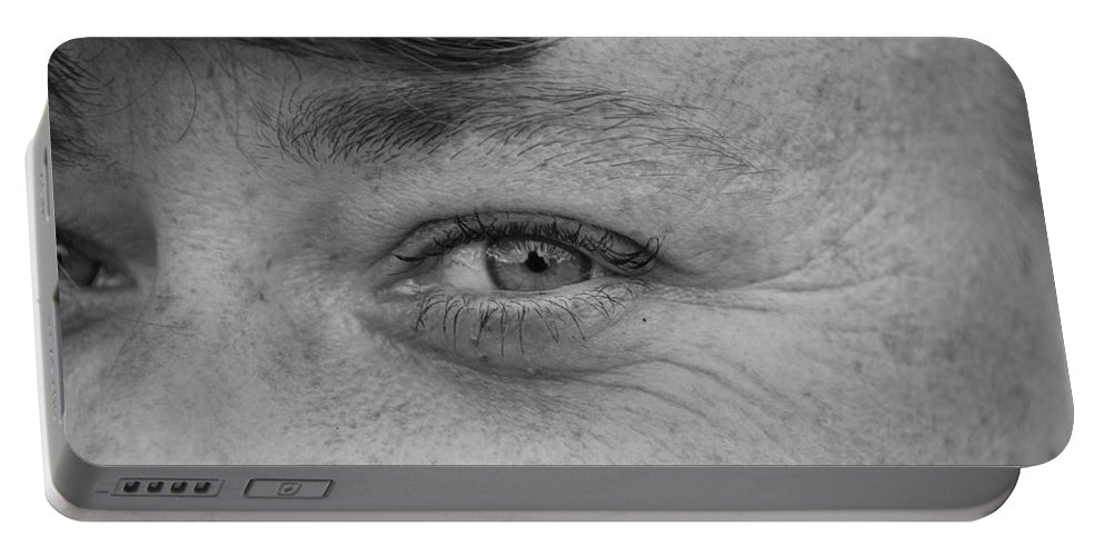 Black And White Portable Battery Charger featuring the photograph I See You by Rob Hans