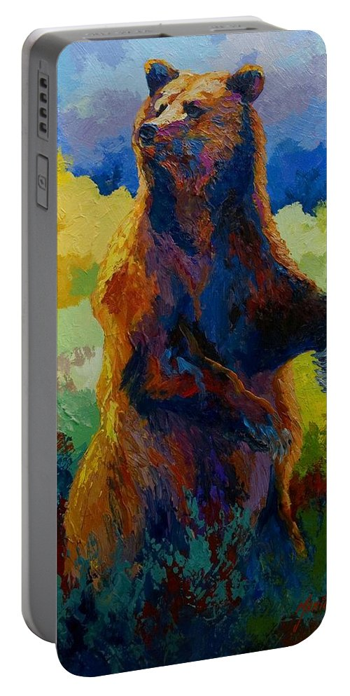 Bear Portable Battery Charger featuring the painting I Spy - Grizzly Bear by Marion Rose
