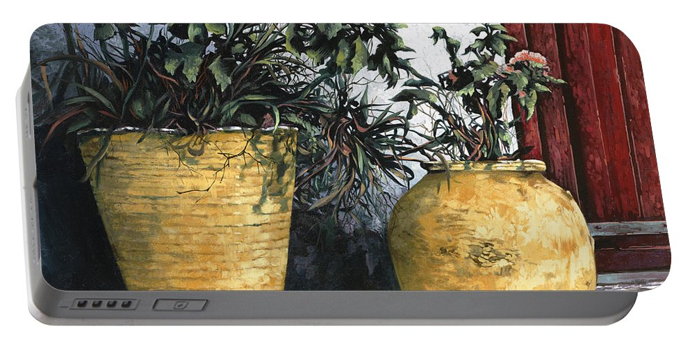 Vases Portable Battery Charger featuring the painting I Vasi by Guido Borelli