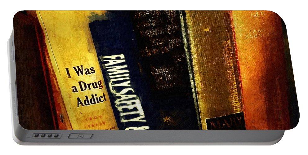 Books Portable Battery Charger featuring the painting I Was A Drug Addict And Other Great Literature by RC DeWinter