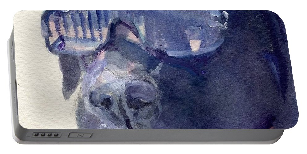 Sunglasses Portable Battery Charger featuring the painting I Wear My Sunglasses At Night by Sheila Wedegis
