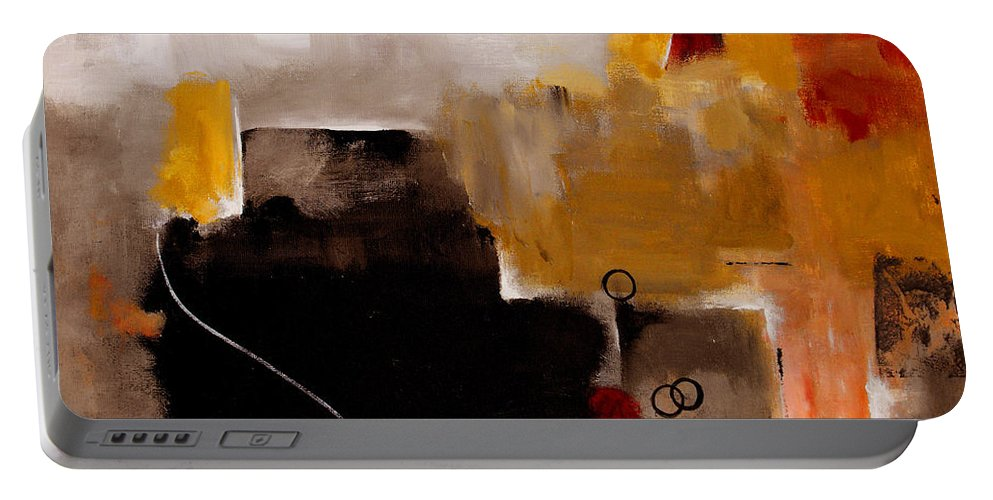 Abstract Portable Battery Charger featuring the painting I Wonder by Ruth Palmer