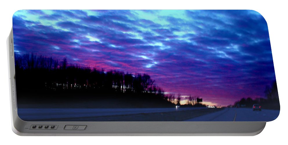 Landscape Portable Battery Charger featuring the photograph I70 West Ohio by Steve Karol