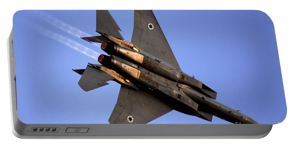 Aircraft Portable Battery Charger featuring the photograph Iaf F15i Fighter Jet On Blue Sky by Nir Ben-Yosef