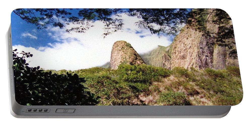 1986 Portable Battery Charger featuring the photograph Iao Valley by Will Borden