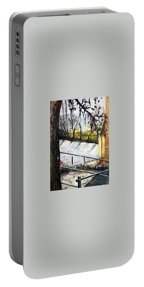 Landscape Portable Battery Charger featuring the painting Ice-covered Pond by Pablo de Choros