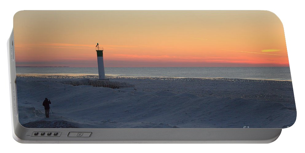 Grand Bend Portable Battery Charger featuring the photograph Ice Mound Glow 4 by John Scatcherd