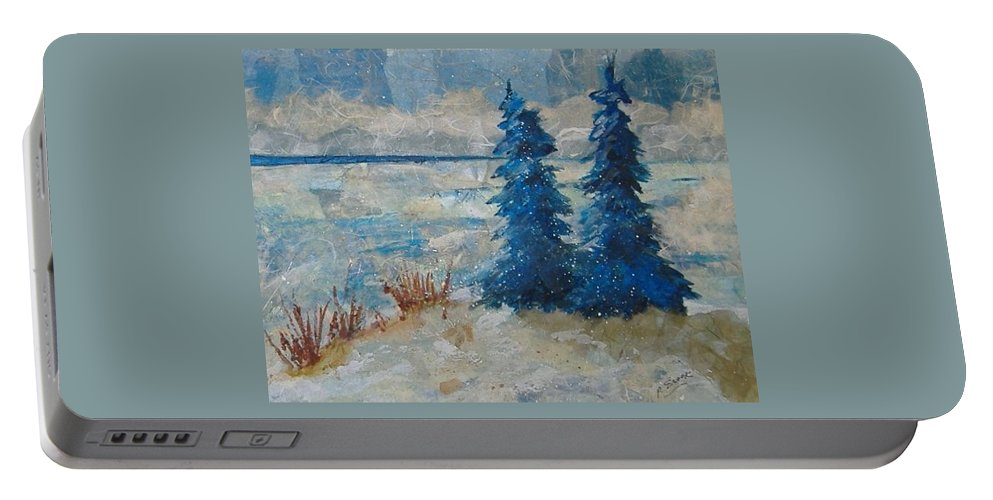 Landscape Portable Battery Charger featuring the mixed media Ice On Lake Erie by Pat Snook