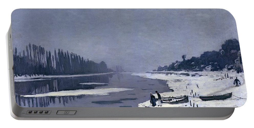 Claude Portable Battery Charger featuring the painting Ice On The Seine At Bougival by Claude Monet