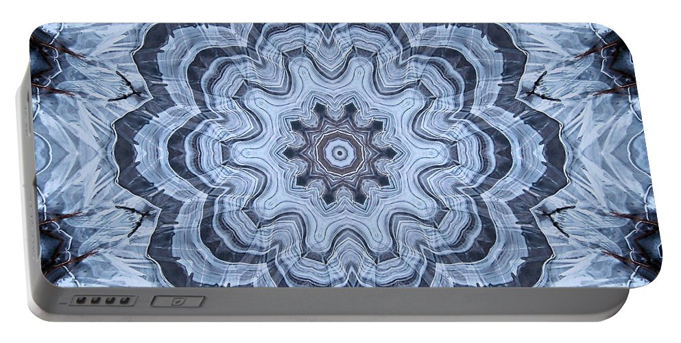 Kaleidoscope Portable Battery Charger featuring the digital art Ice Patterns Snowflake by Kristin Elmquist