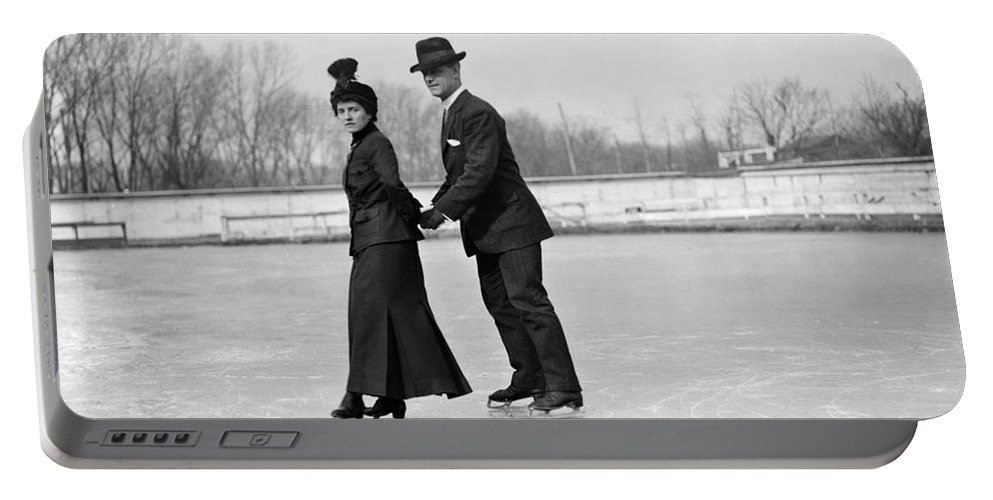 19th Century Portable Battery Charger featuring the painting Ice Skaters by Granger