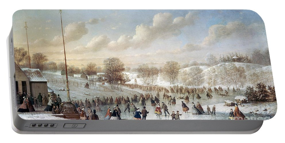 1865 Portable Battery Charger featuring the painting Ice Skating, 1865 by Granger