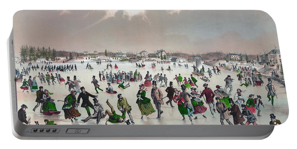 1859 Portable Battery Charger featuring the painting Ice Skating, C1859 by Granger