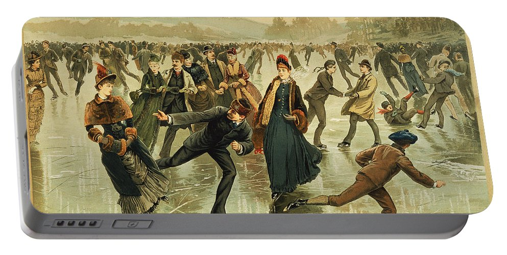 1886 Portable Battery Charger featuring the painting Ice Skating, C1886 by Granger