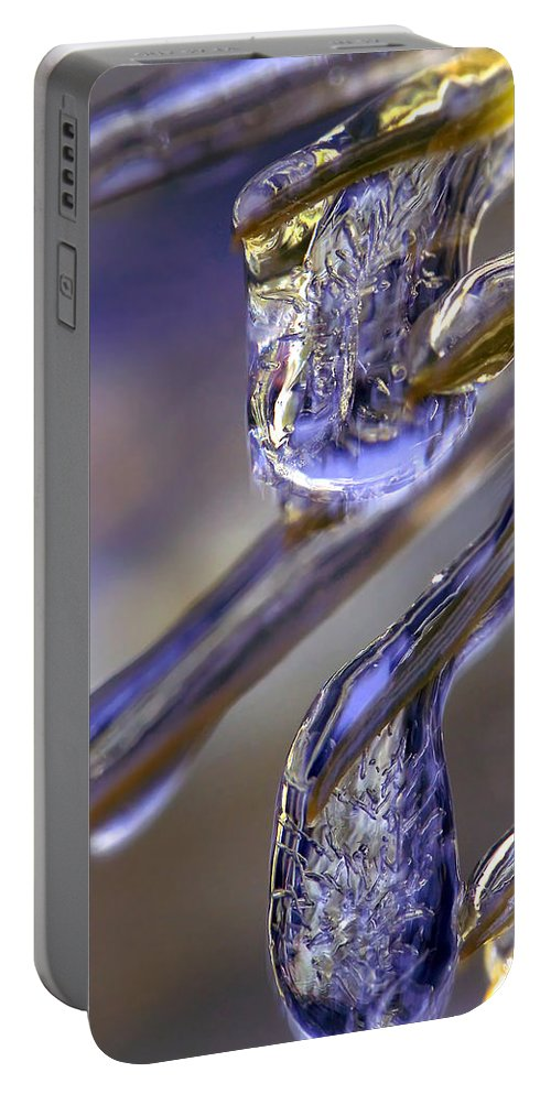 Macro Portable Battery Charger featuring the photograph Ice Storm II by Lauren Radke