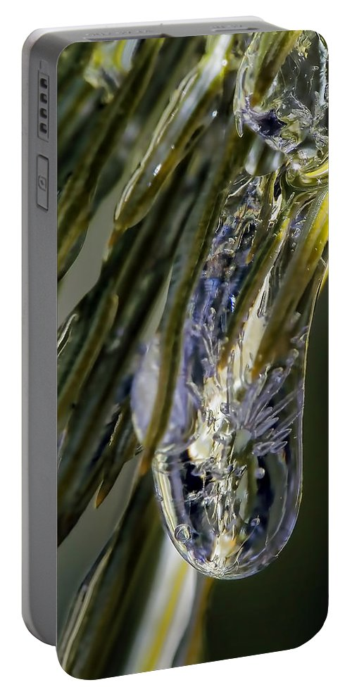 Macro Portable Battery Charger featuring the photograph Ice Storm by Lauren Radke