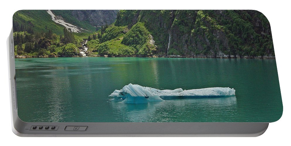 Iceburg Portable Battery Charger featuring the photograph Ice Tracy Arm Alaska by Heather Coen