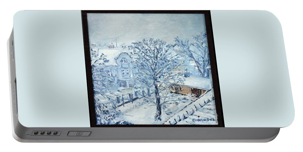 Landscape Portable Battery Charger featuring the painting Ice White by Pablo de Choros