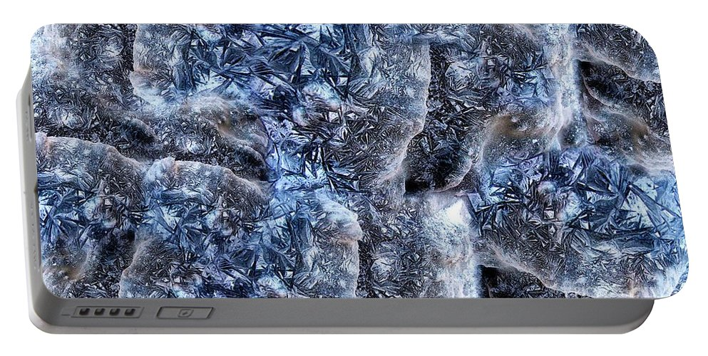 Abstract Portable Battery Charger featuring the digital art Ice World by Ron Bissett