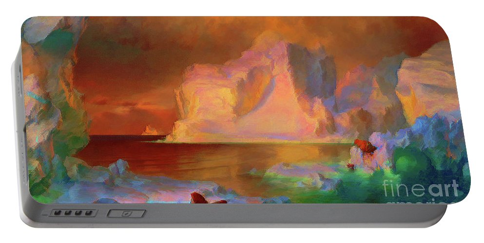 Icebergs Portable Battery Charger featuring the painting Icebergs by D Fessenden