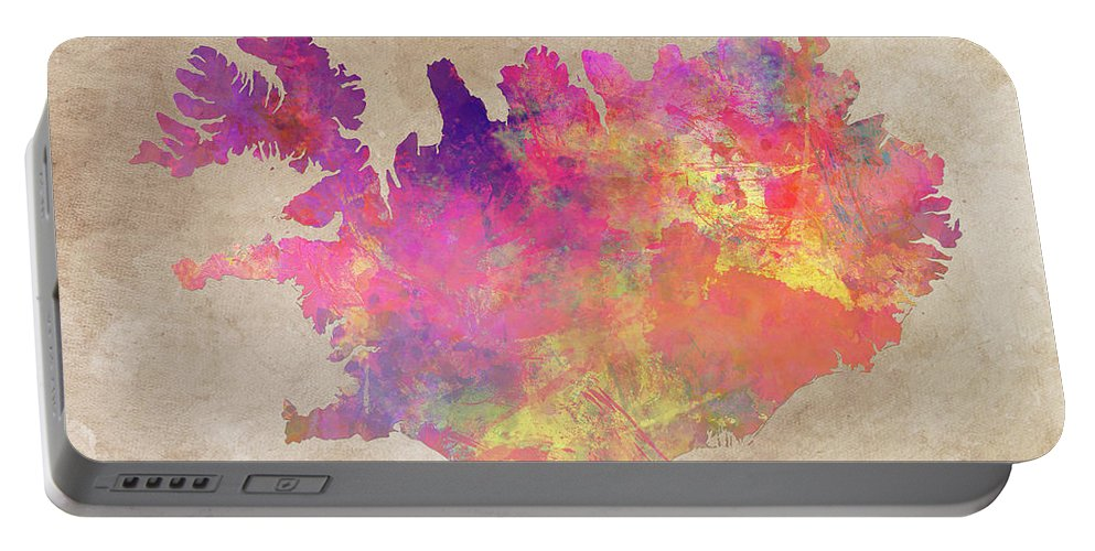 Iceland Portable Battery Charger featuring the digital art Iceland Map by Justyna JBJart