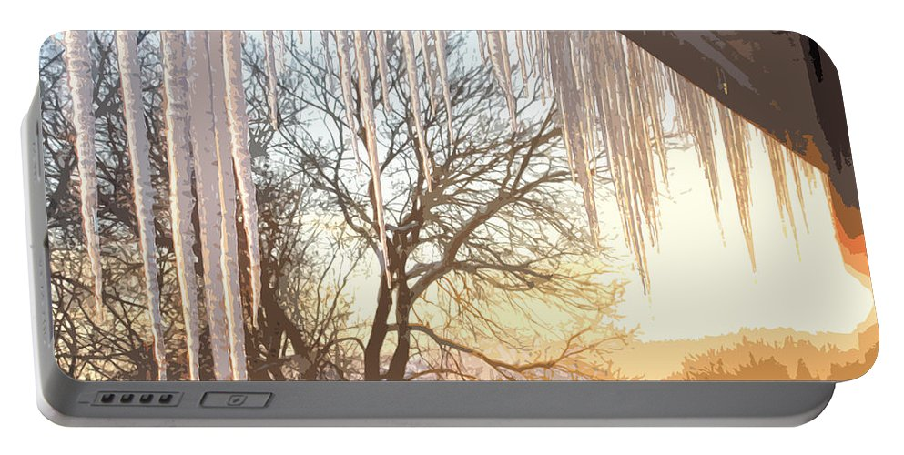 Icicles Portable Battery Charger featuring the photograph Icicles One by Ian MacDonald