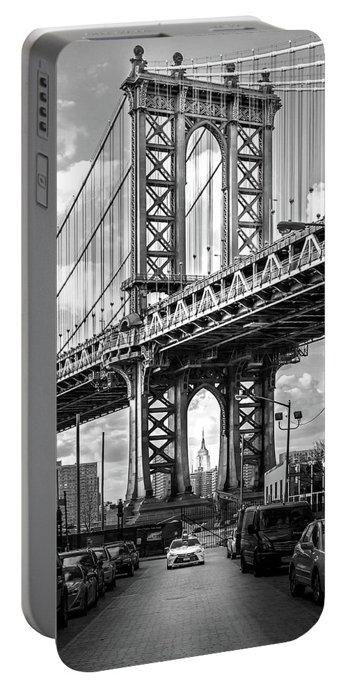 New York City Portable Battery Charger featuring the photograph Iconic Manhattan BW by Az Jackson