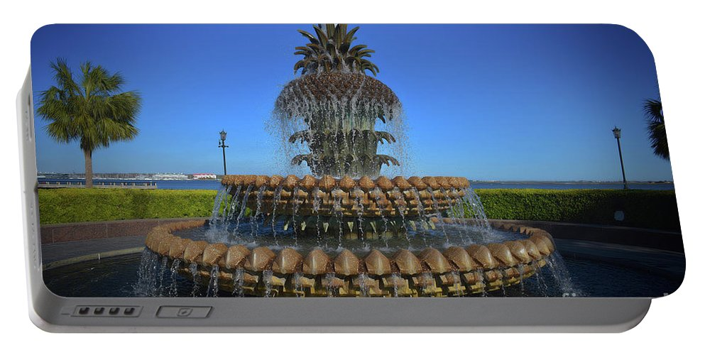 Scenic Tours Portable Battery Charger featuring the photograph Iconic Pineapple by Skip Willits