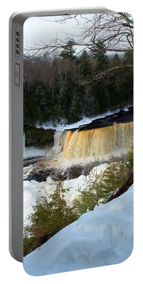 Tahquamenon Falls Portable Battery Charger featuring the photograph Icy Buildup by Linda Kerkau
