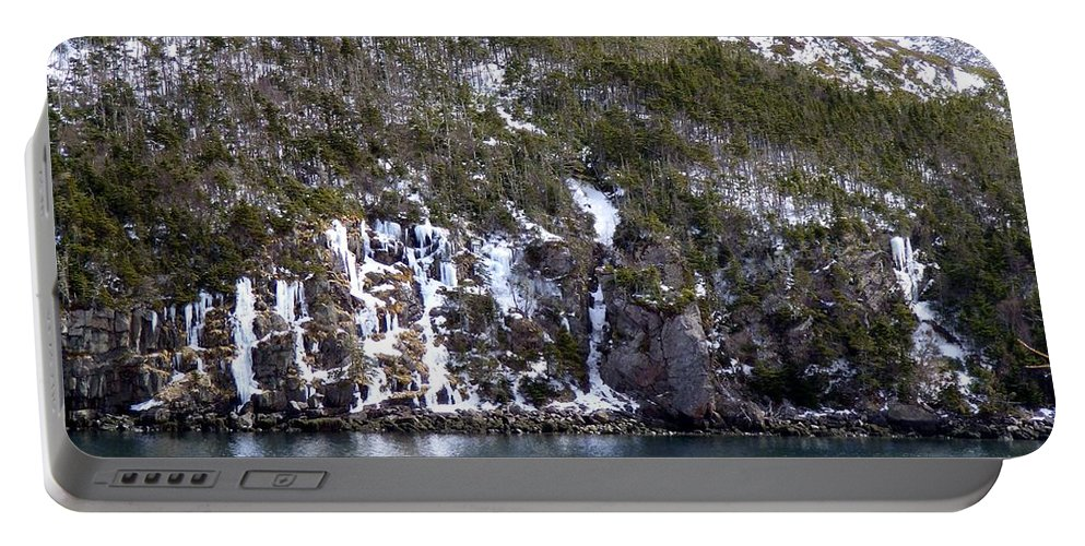 Ice Cliff Portable Battery Charger featuring the photograph Icy Cliff In Winter by Barbara Griffin