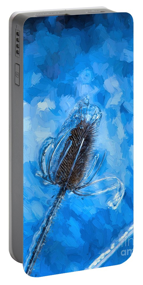 Freezing Portable Battery Charger featuring the photograph Icy Thistle Plant by Les Palenik