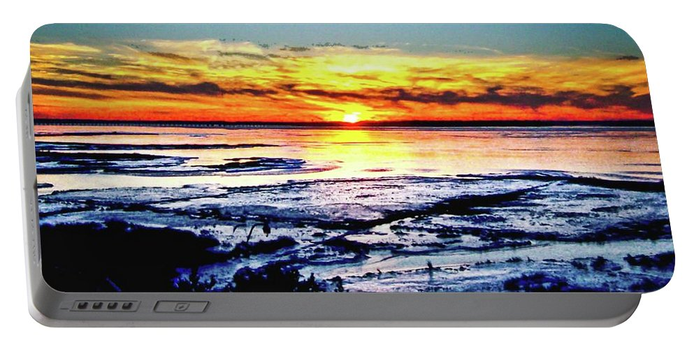 Sunset Portable Battery Charger featuring the photograph Icy Waters by Michael Forte