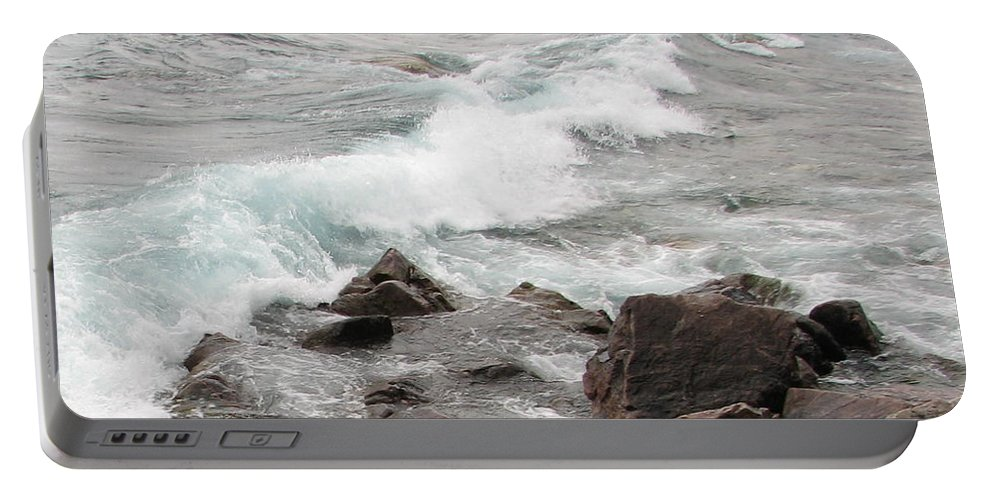 Wave Portable Battery Charger featuring the photograph Icy Waves by Kelly Mezzapelle
