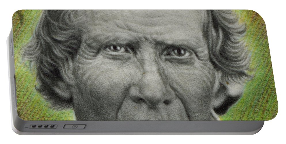 Photorealism Portable Battery Charger featuring the drawing Ignore The Death Of A Planet Detail by Chuck Bowden