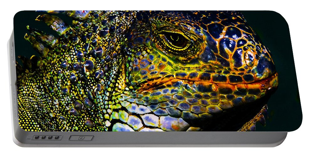 Art Portable Battery Charger featuring the painting Iguana by David Lee Thompson