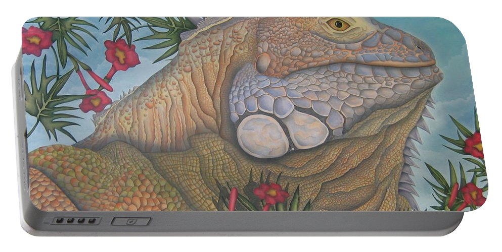 Lizard Portable Battery Charger featuring the painting Iguana Iguana by Jeniffer Stapher-Thomas