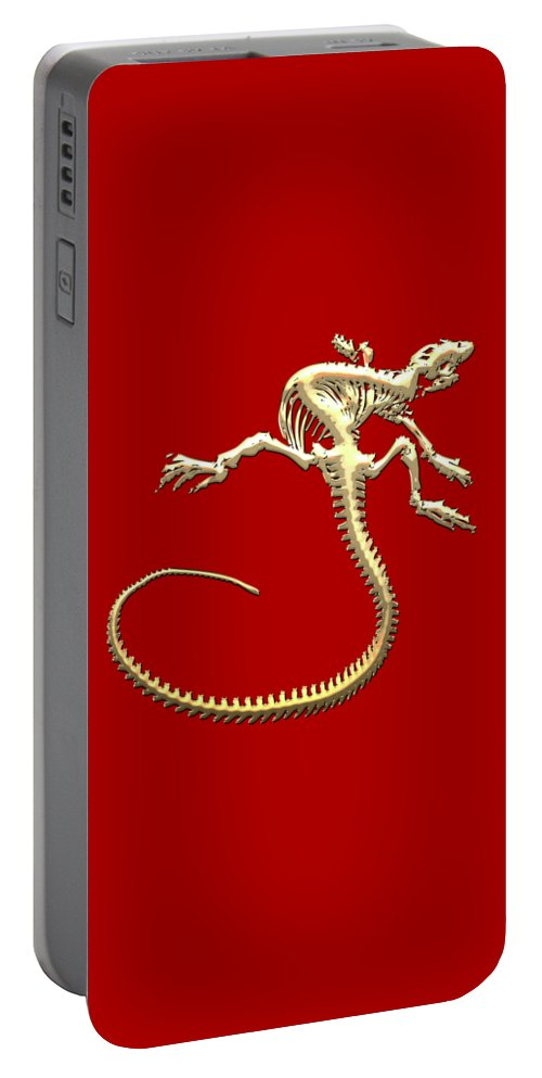 'precious Bones' Collection By Serge Averbukh Portable Battery Charger featuring the digital art Iguana Skeleton In Gold On Red by Serge Averbukh