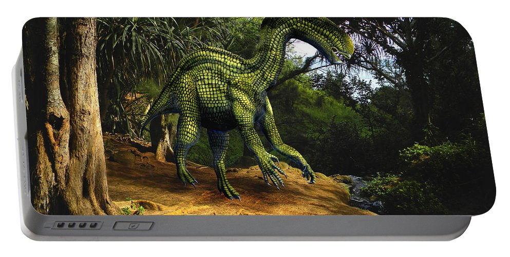 Dinosaur Art Portable Battery Charger featuring the mixed media Iguanodon In The Jungle by Frank Wilson