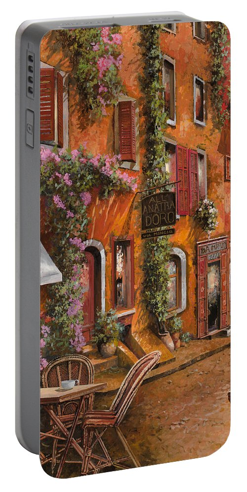 Cityscape Portable Battery Charger featuring the painting Il Bar Sulla Discesa by Guido Borelli