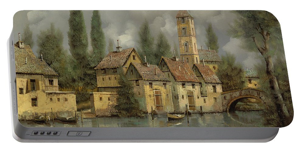 River Portable Battery Charger featuring the painting Il Borgo Sul Fiume by Guido Borelli