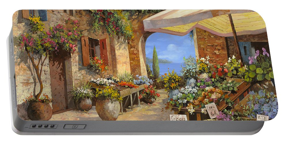 Landscape Portable Battery Charger featuring the painting Il Mercato Del Lago by Guido Borelli