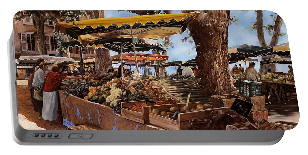 St Paul Portable Battery Charger featuring the painting il mercato di St Paul by Guido Borelli