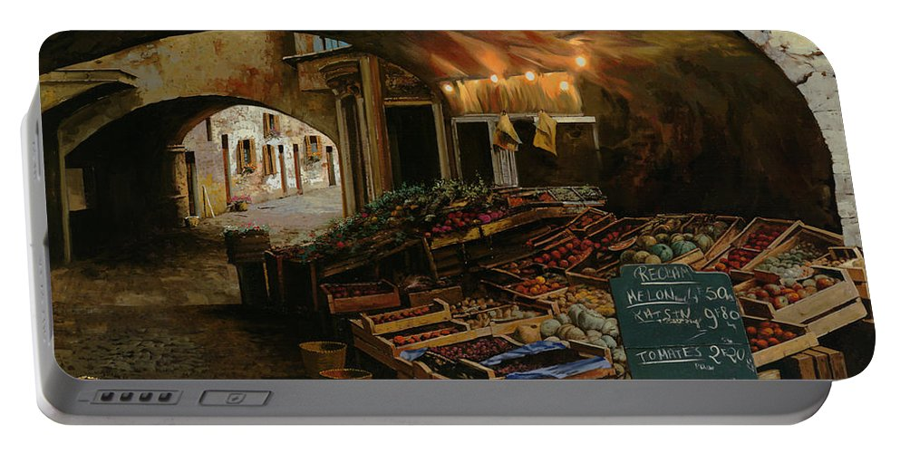 Market Portable Battery Charger featuring the painting Il Mercato Francese by Guido Borelli